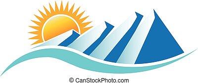 montagnes, vecteur, conception, logo., ensoleillé, graphique