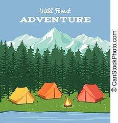 montagnes, vecteur, rivière, camp, camping., extérieur, nature, fond, forêt, tente, illustration