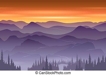montagnes, vecteur, seamless, fond