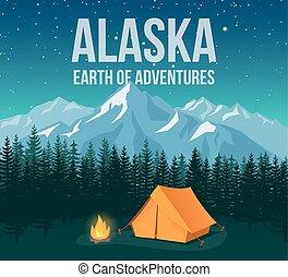 montagnes, vie sauvage, illustration., pins, vendange, parc national, alaska, vecteur, affiche, voyage