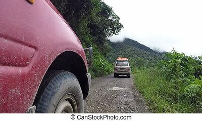 montagneux, conduite, voitures, deux, long, route