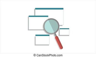 montant, animation, loupe, recherche, pages., toile, moteur