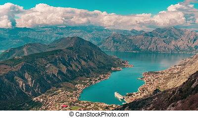 montenegro, été, nuages tempête, coup, sur, mouvement, montagnes