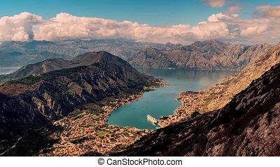 montenegro, mouvement, orage, sur, nuages, coucher soleil, coup, montagnes