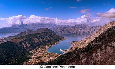 montenegro, orage, sur, mouvement, nuages, montagnes