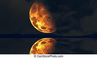 monter, surface, sur, lac, moitié, eau, ciel sombre, lune