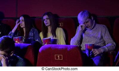 montre, ados, triste, cinema., film