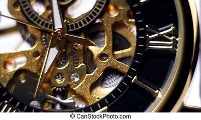 montre, closeup, flèche, or, horloge