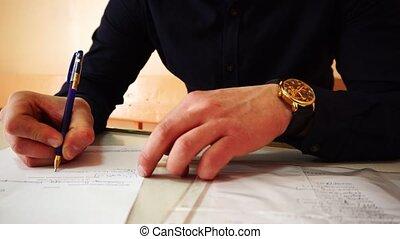 montre, documents., close-up., signes main, or, vidéo, sien, était, coup, homme affaires