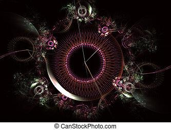 montre, themed, machine, steampunk, temps, numérique, fractal, art, rouage horloge