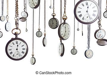 montres poche, chaîne, isolé