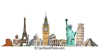 monuments, célèbre, mondiale