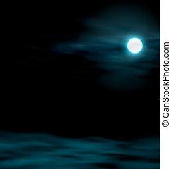 moon., ciel, paysage lunaire, nuit