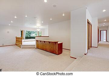 moquette, barre, salle, bois, grand, beige, railing., vide