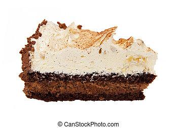 morceau, blanc, gâteau, isolé