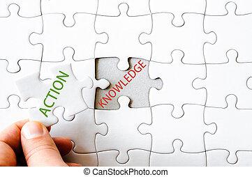 morceau, mot, puzzle, disparu, puzzle, action