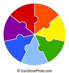 morceaux, arc-en-ciel, puzzle, element., fond, infographic, rond, colors., diagramme, blanc, vecteur