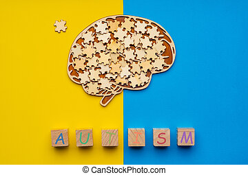 morceaux, haut, cerveau, bleu, cubes, dispersé, inscription, arrière-plan., humain, puzzle, six, railler, jaune, autism.