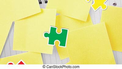morceaux, marque, question, animation, tête, vert, puzzle, humain, rouges, tomber, labyrinthe, jaune