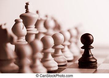 morceaux, noir, échecs, pion, blanc