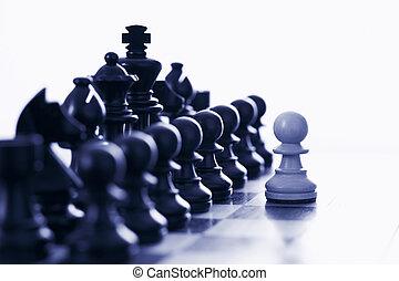 morceaux, noir, provocateur, échecs, pion, blanc