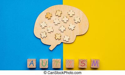 morceaux puzzle, bleu, six, haut, cubes, autism., jaune, arrière-plan., dispersé, inscription, cerveau, railler, humain