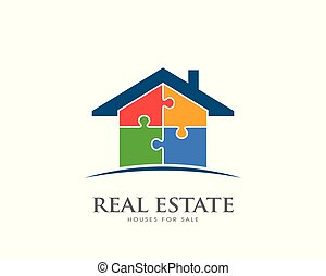 morceaux, puzzle, design., logo, propriété, illustration, vrai, maison, vecteur