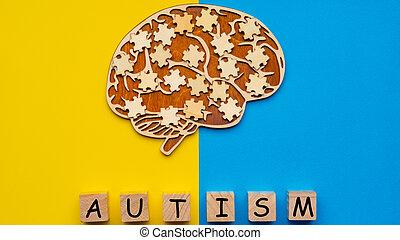 morceaux, puzzle, humain, arrière-plan., cubes, cerveau, bleu, six, dispersé, autism., railler, jaune, haut, inscription