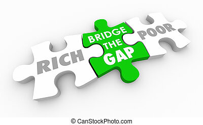 morceaux, puzzle, riche, entre, pauvre, illustration, trouée, pont, 3d