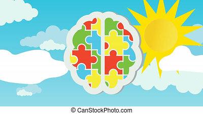 morceaux, soleil, animation, bleu ciel, rouges, vert, puzzle, cerveau humain, jaune, former