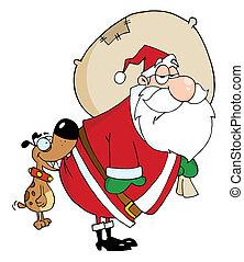 mordre, chien, claus, santa