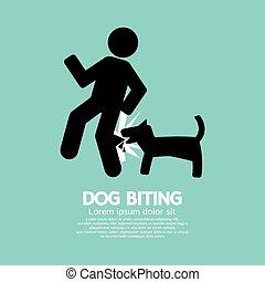 mordre, chien, symbole.