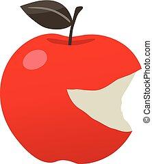 mordu, pomme, rouges