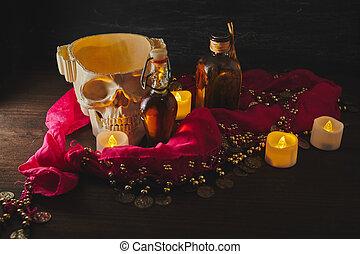 mortier, bougies, table., vendange, vie, ésotérique, potions, concept., encore, bouteilles, crâne, sorcière, effrayant, ou, halloween
