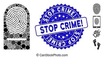 mosaïque, arrêt, doigt, grunge, icône, timbre, crime!, impression
