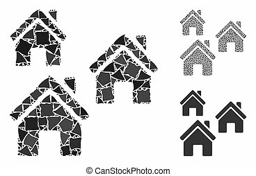 mosaïque, articles, village, cahoteux, icône, bâtiments