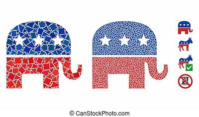 mosaïque, cahoteux, républicain, icône, éléphant, morceaux