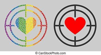 mosaïque, cercles, amour, icône, cible, spectre