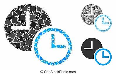 mosaïque, clocks, parties, irrégulier, icône