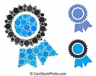 mosaïque, icône, cercles, certification
