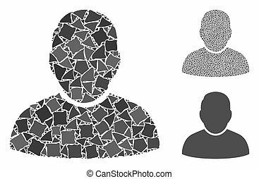 mosaïque, morceaux, utilisateur, cahoteux, icône