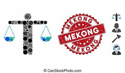 mosaïque, poids, icône, cachet, mekong, avocat, détresse
