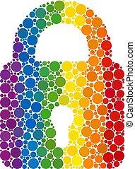 mosaïque, spectre, cercles, serrure, icône