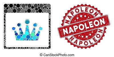 mosaïque, timbre, page, calendrier, couronne, gratté, napoléon