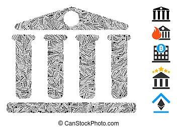 mosaïque, trappe, icône, banque
