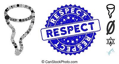 mosaïque, vortex, icône, respect, détresse, cachet
