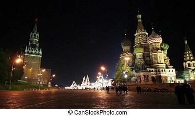 moscou, carrée, temple, rouges, kremlin