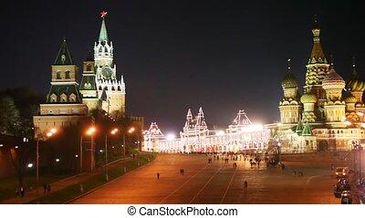moscou, gens, tours, basil's, carrée, panorama, kremlin, saint, cathédrale, rouges