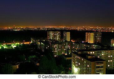 moscou, nuit, -, au-dessus, capital, russie