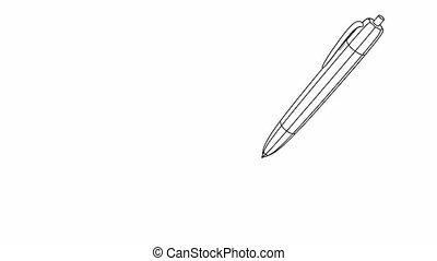 mot, écriture, success., stylo, papier